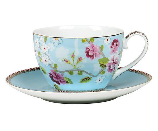 Xícara para chá com pires chinese rose zen - 280ml