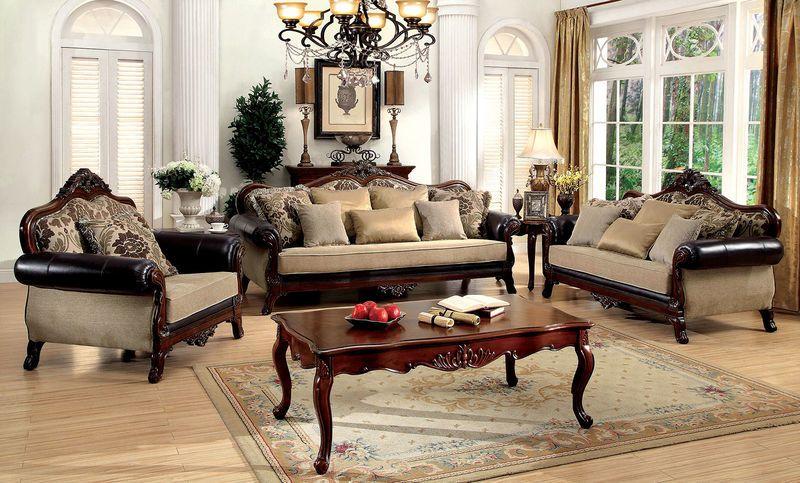 Rashid Classic Victorian Style Formal Living Room Set Ornate Dark