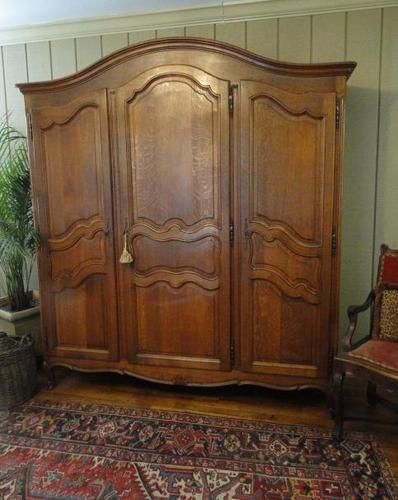 Genial Antique French Country ARMOIRE WARDROBE ~Solid Tiger Oak ~Carved 3 Door ~Fitted