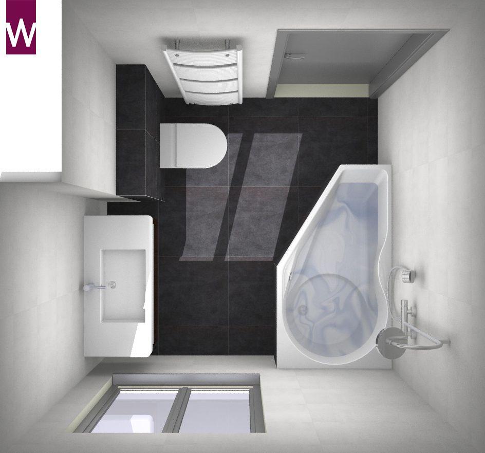 Kleine badkamer met slimme douche/badcombinatie | 3D badkamer ...