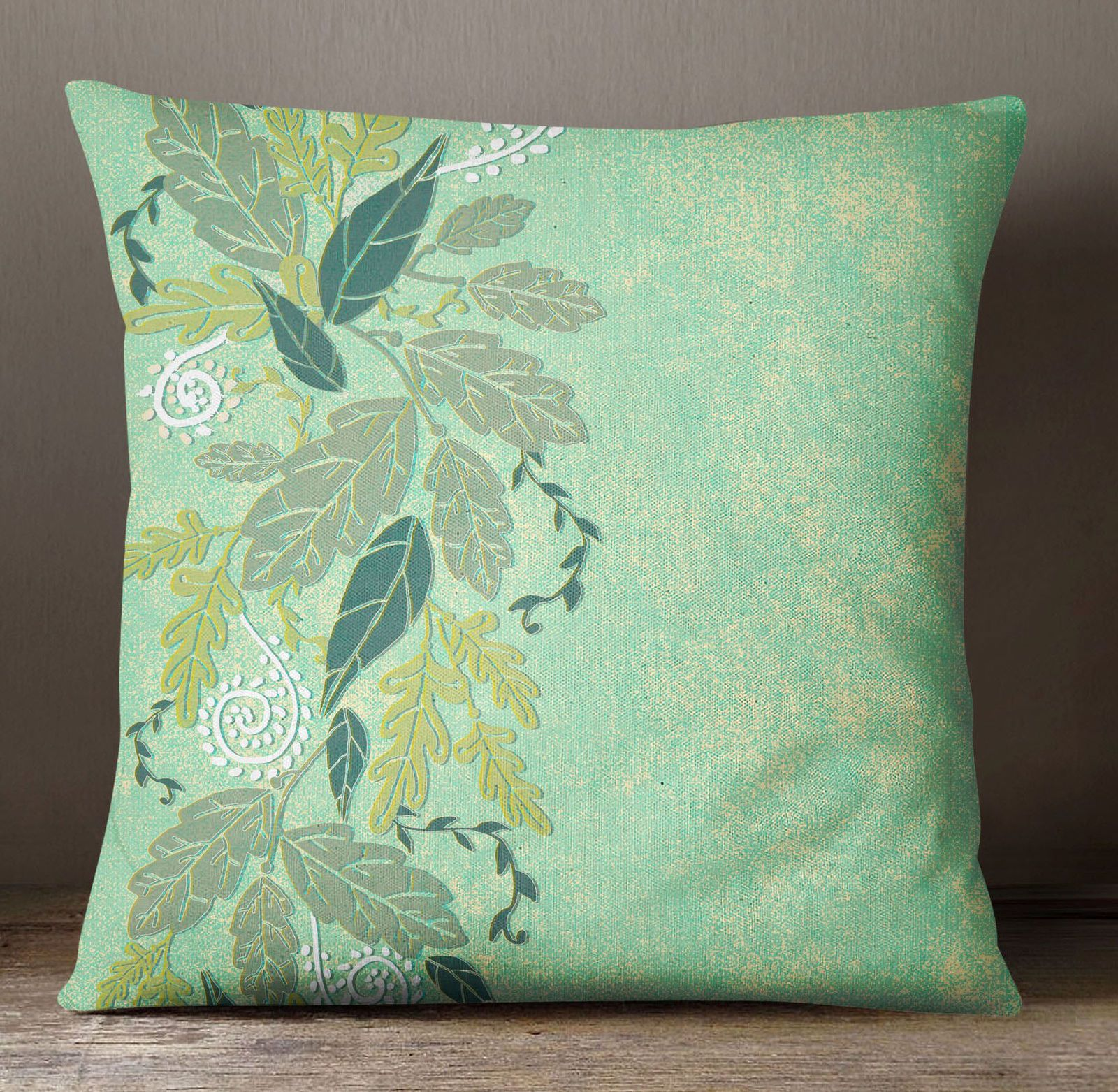 Ssassy square cushion cover home decor mint leaf print pillow case