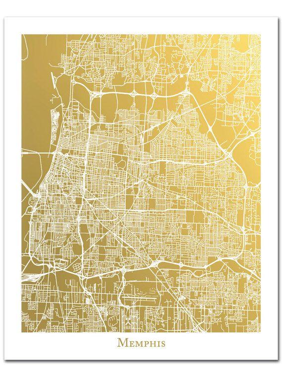 Memphis Map, Gold Foil Map of Memphis Tennessee, Memphis City Map ...