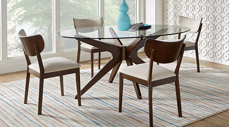 Picture Of Delmon Walnut 5 Pc Oval Dining Set From Furniture Fair Oval Dining Room Table Set Decorating Inspiration