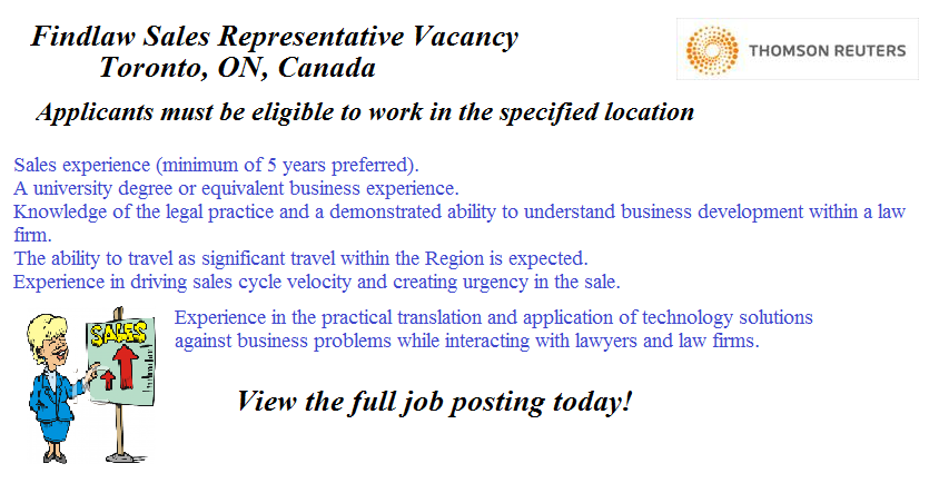 Check Out This Sales Employment Opportunity Located In Toronto