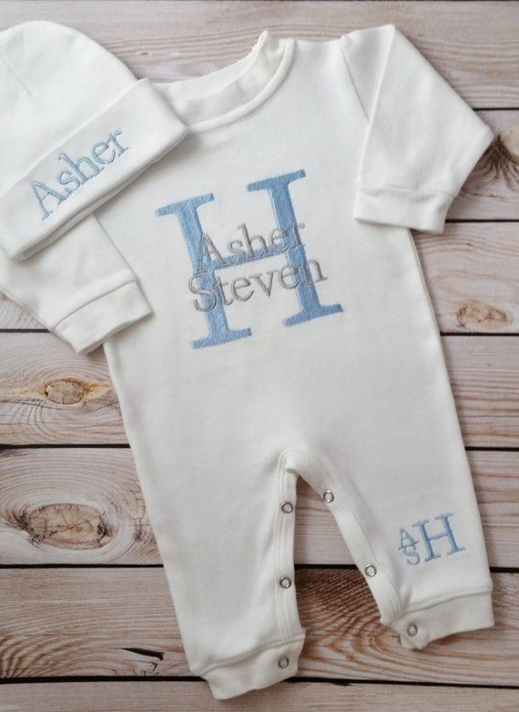 cb6ea1316ce9 Baby Boy Personalized Coming Home Outfit Monogrammed Baby Boy ...