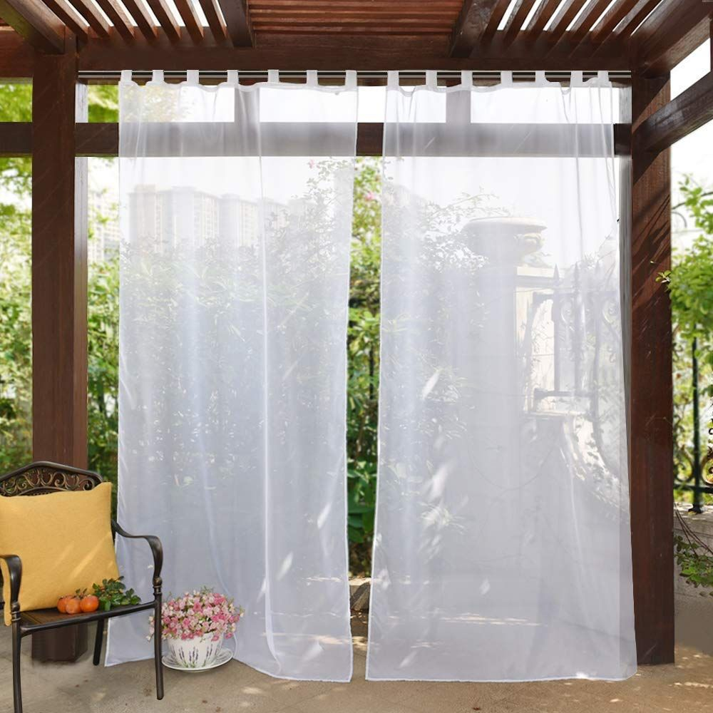 Pony Dance Outdoor Curtains For Patio White Sheer Panels