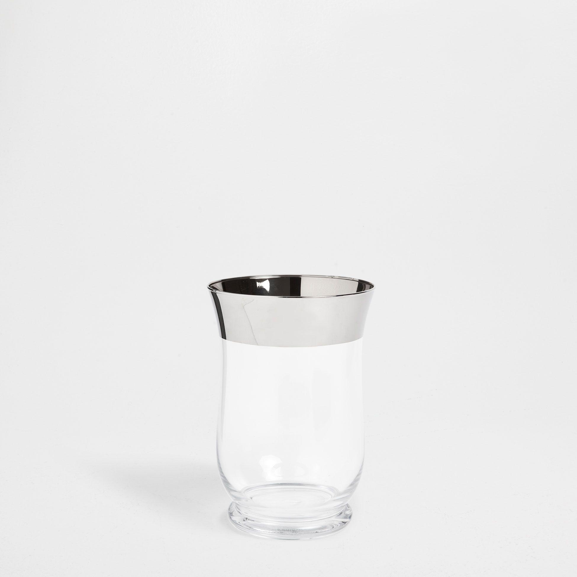 Jarrón vidrio transparente filo plateado - Jarrones - Decoración ...