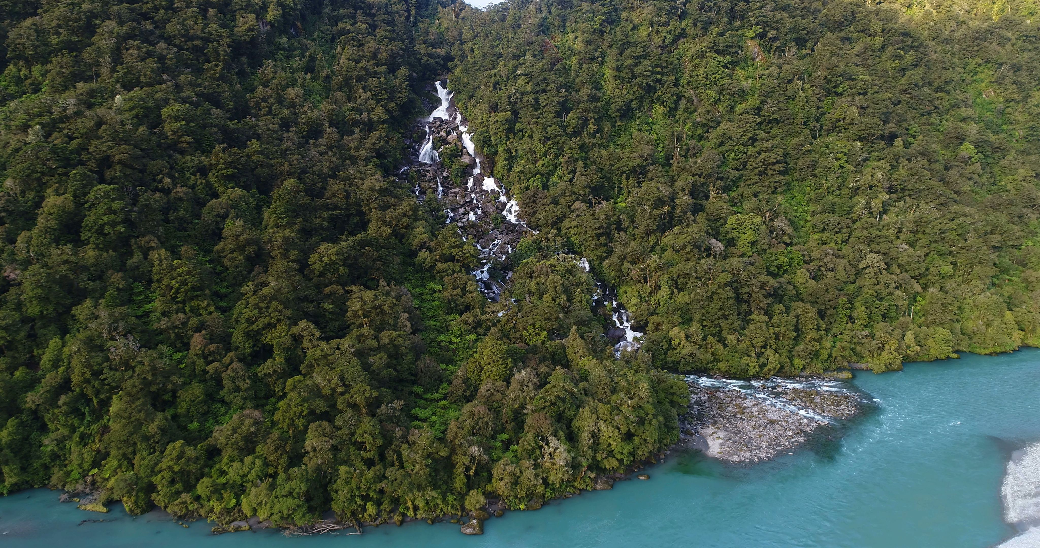 New Zealand nature landscape aerial drone video of Haast