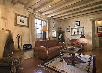 Fabulous Home With Guest House On Acequia Madre Main House Has Two Bedrooms And Two And A Half Baths Formal Dining Room Home Adobe House Western Home Decor