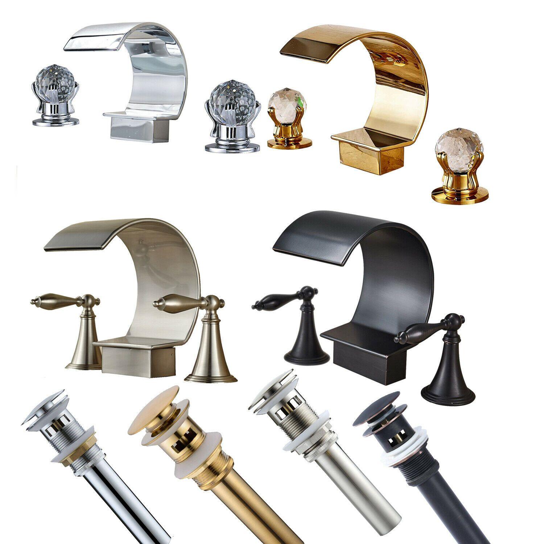 Waterfall Bathroom Basin Sink Faucet Widespread 3 Holes 2 Handles Mixer Tap Ebay Sink Faucets Basin Sink Bathroom Bathroom Basin