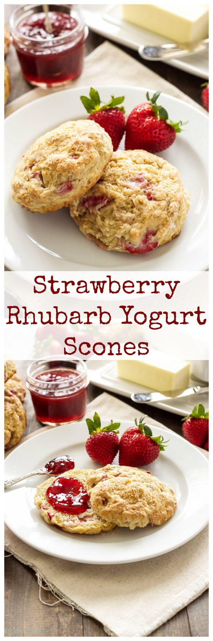 Strawberry Rhubarb Yogurt Scones | Sweet tender scones lightened up with creamy yogurt! #AussieStyle #ad