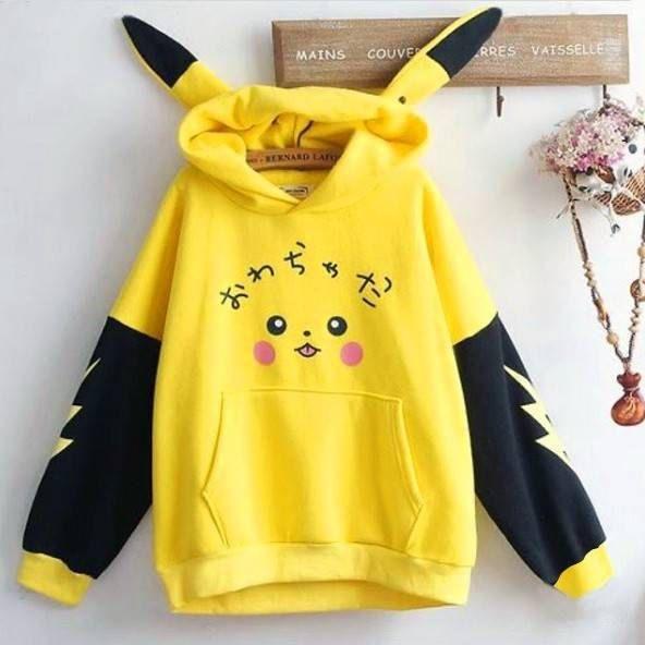 Cute Fall Hoodie, Yellow Women's Sweatshirt, Pikac
