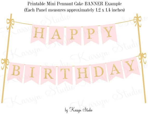 Cake Banner Printable DIY soft pink gold glitter appearance