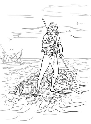 Robinson Crusoe On A Raft After Shipwrecked Coloring Page
