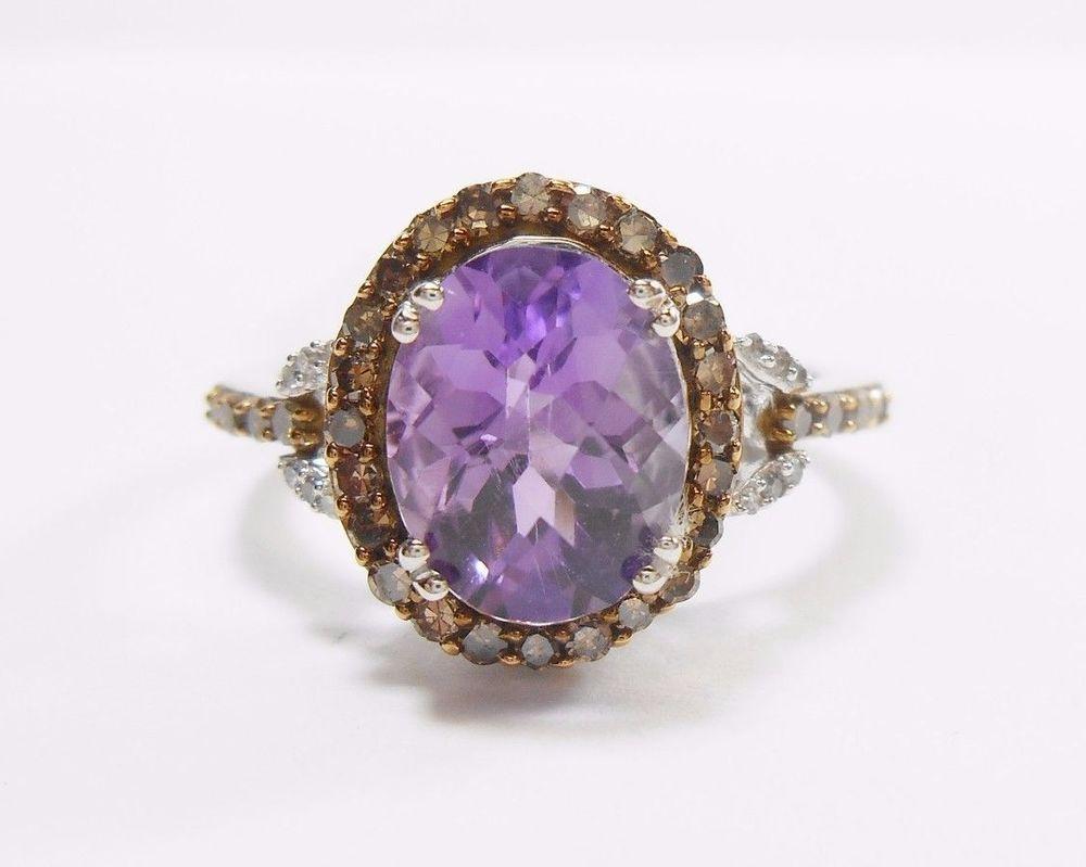 NWT Kay Jewelers 10k White Rose Gold Oval Amethyst Diamond Halo Ring JWBR #1306 #KayJewelers #Halo