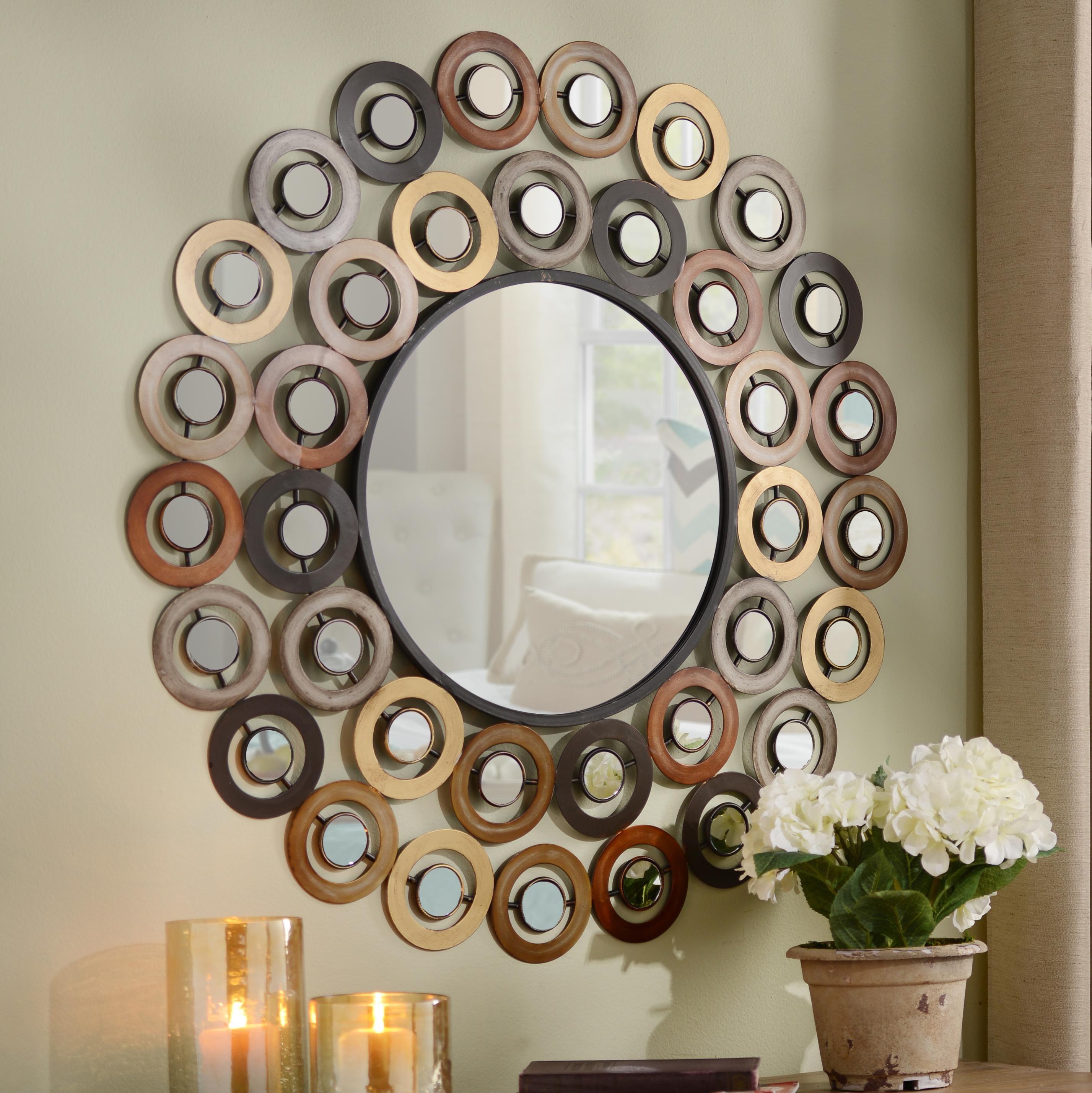 Wire capiz sunburst wall mirror - Metallic Dots Mirror