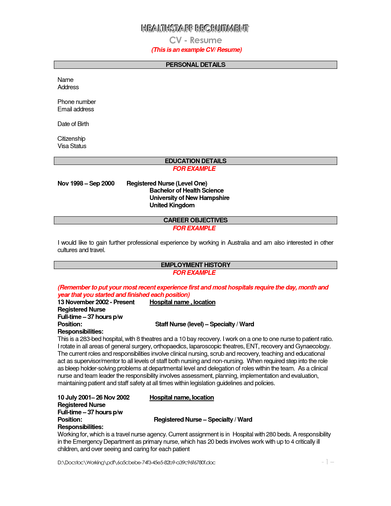 Resume For Hospital Job Resume Samples For Jobs Australia Example Template Free Cover