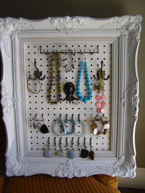DIY pegboard jewelry holder in a spraypainted vintage frame