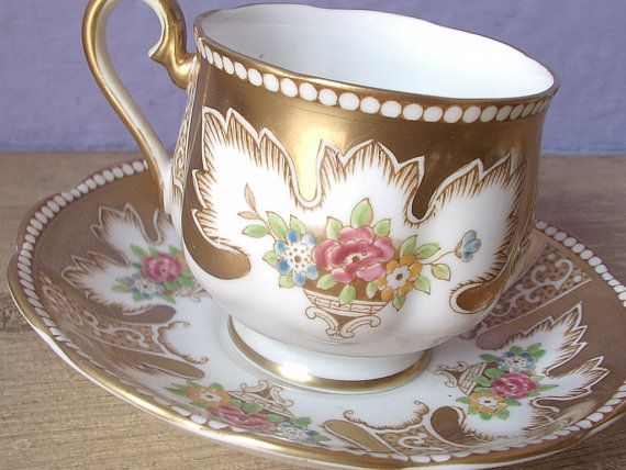 Antique 1940's gold tea cup, vintage Royal Albert bone china tea cup and saucer set, hand painted English tea set