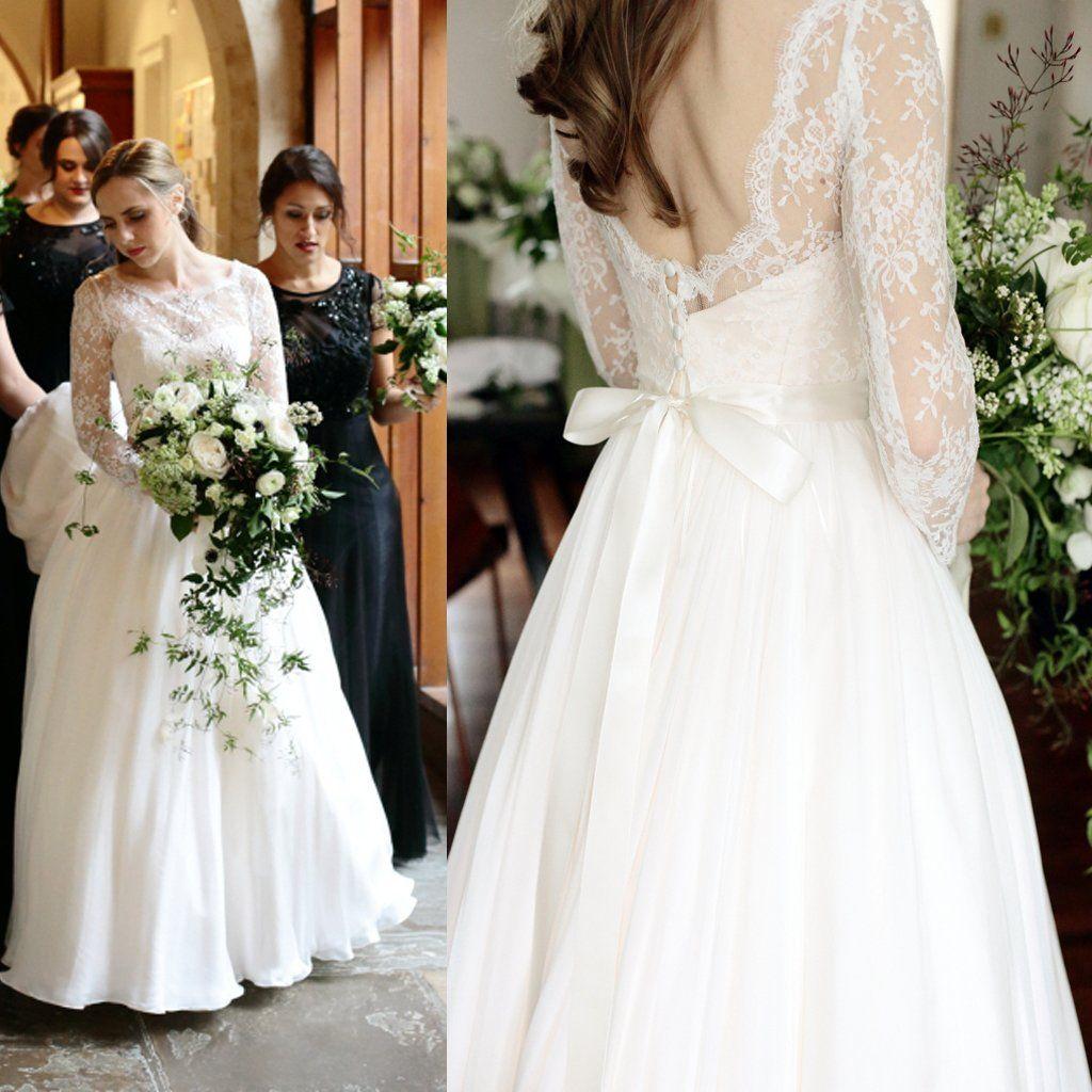 Convertible long sleeve sweetheart strapless lace chiffon wedding
