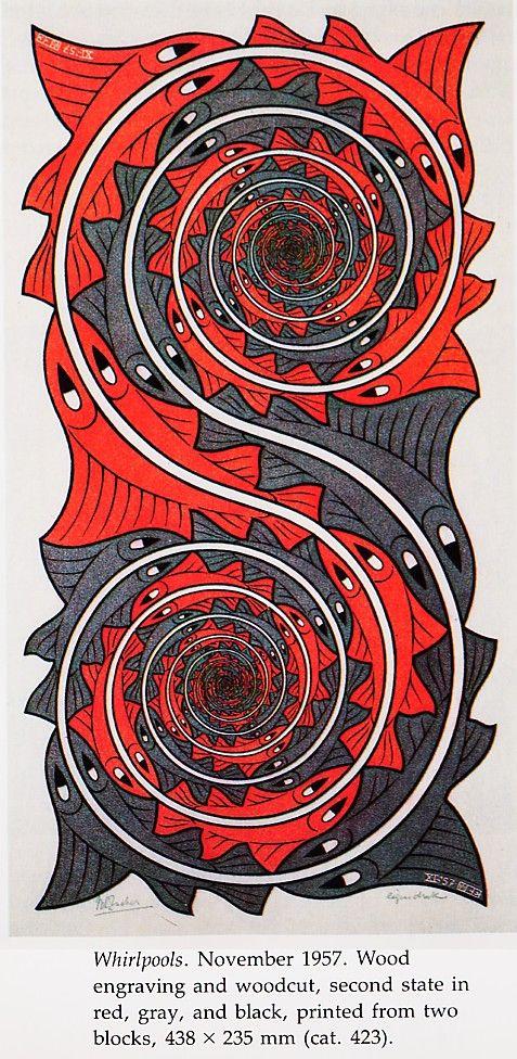 Whirl Pool by M C Escher. идея математической функции как основы искусства, взрывает мозг