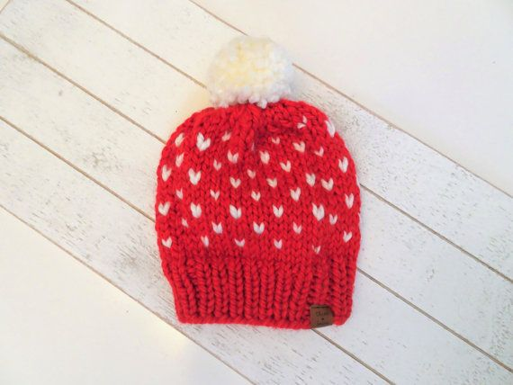 e5b32df69 This Mommy & Me heart toque set is hand knit with a super soft blend ...