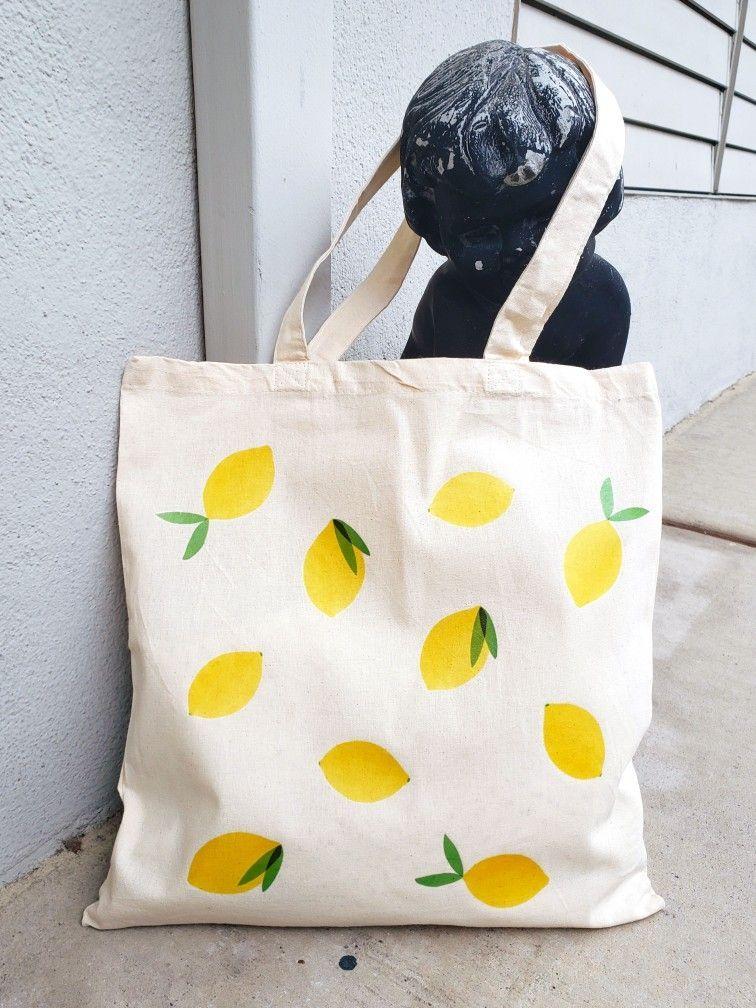 Lemon cotton shopping bag on Etsy :   #Lemon #cotton #shopping