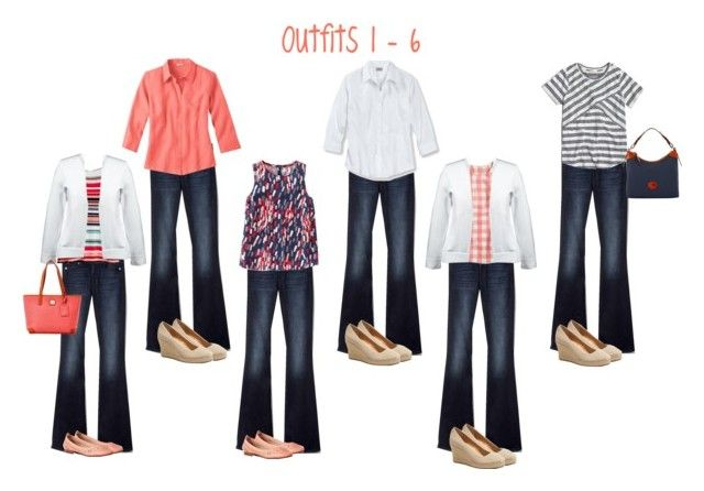 """""""Summer wardrobe capsule: navy & coral (1-6)"""" by kristin727 ❤ liked on Polyvore featuring Gap, Boden, J.Crew, Lands' End and Dooney & Bourke"""