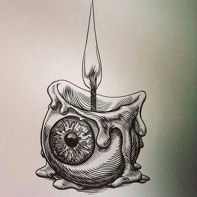 Black and white eye candle tat
