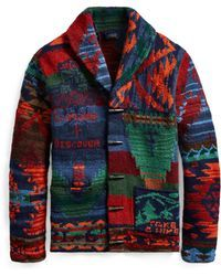 75d34d7fc059 Blue Men s Iconic Patchwork Cardigan