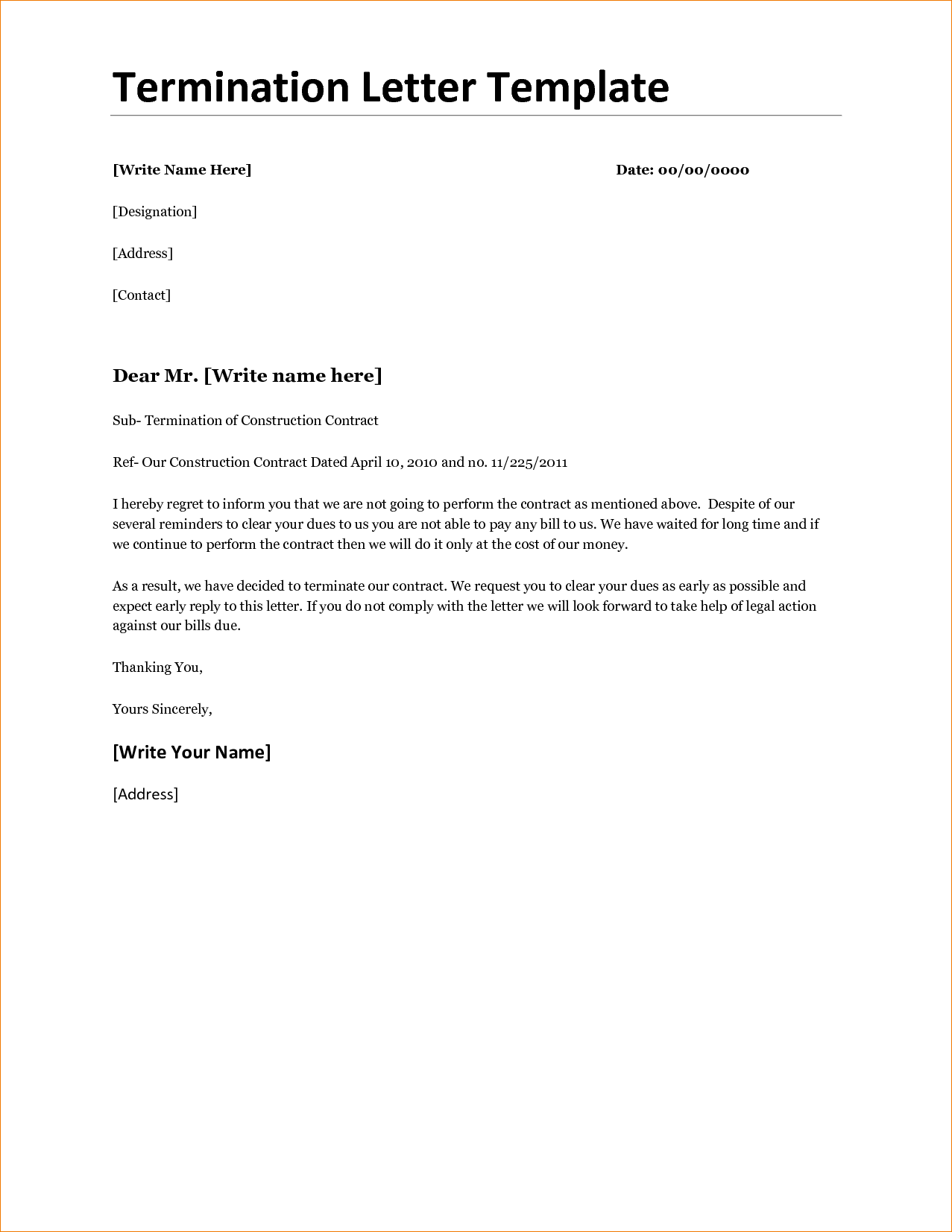 contract agreement template templateg letter cancellation business