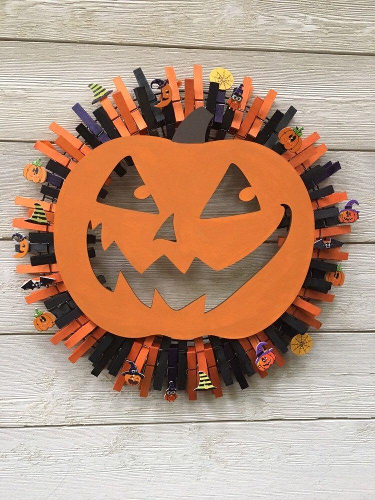 Photo of Halloween pumpkin clothespin wreath /Fall wreath/Halloween decor /front door wreath