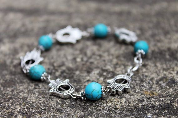 Hamsa and Turquoise Bracelet by ClareyfairyCreations on Etsy, £5.00