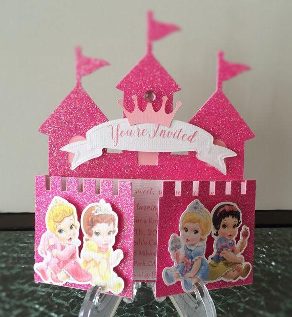 disney baby princess castle invitation kindergeburtstag pinterest prinzessin schloss rosa. Black Bedroom Furniture Sets. Home Design Ideas