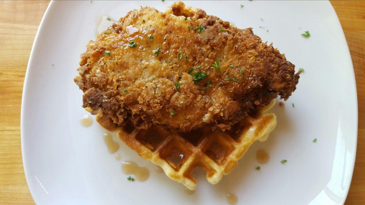 Chicken waffles jillian fae chef services chicken
