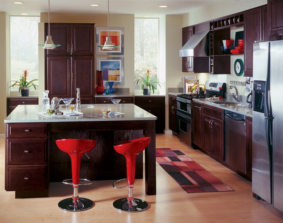 Stainless Steel Appliances Red Bar Stools And Diamond S Aurora Oak Chocolate Cabine Semi Custom Kitchen Cabinets Custom Kitchen Cabinets Contemporary Kitchen