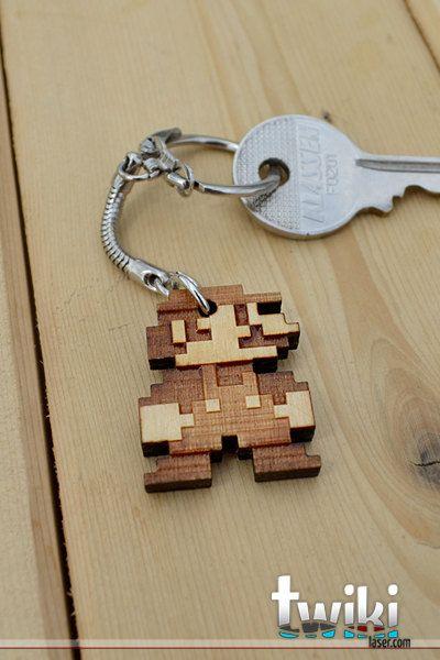 Mario Bros 8bit Wood Keyring Or Charm Accessory Laser Stuff
