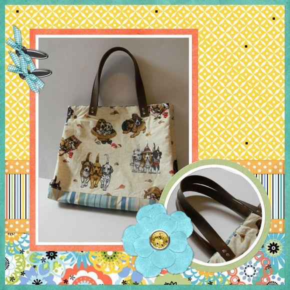 Bolsa com estampa de pet e alça em couro ecológico R$75,00