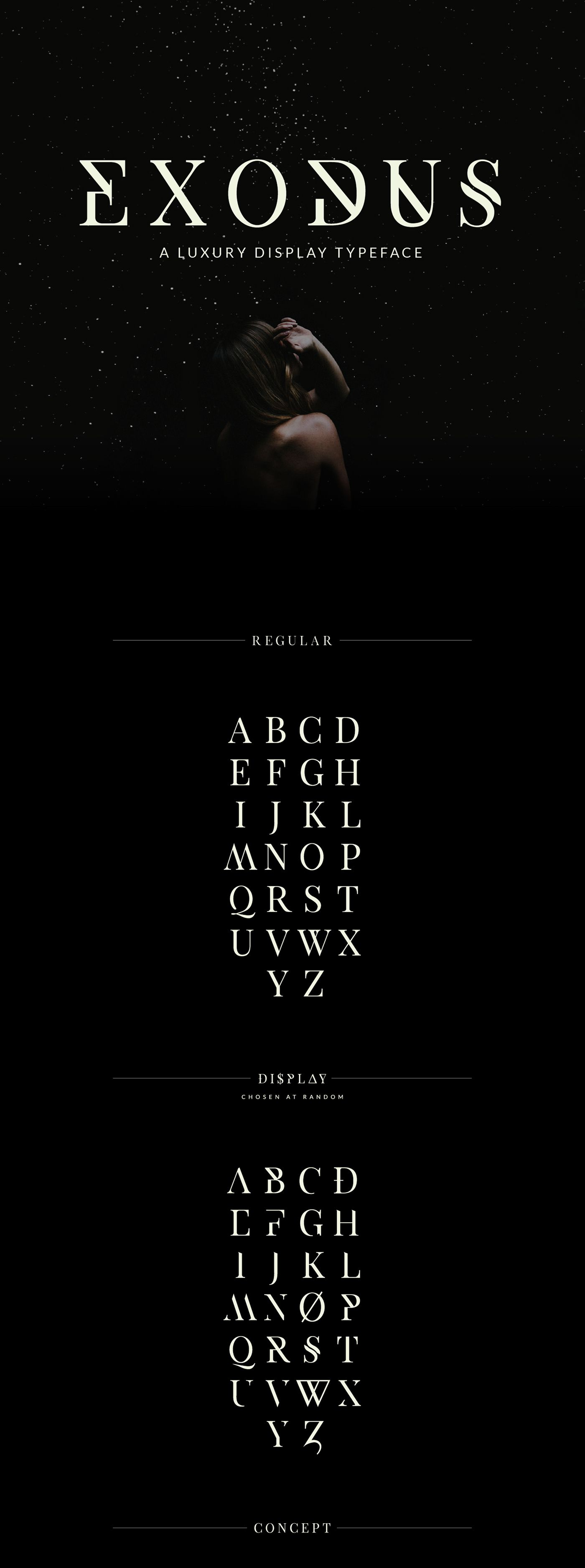Exodus is a display serif typeface with luxurious lines and a smorgasbord of unique alternative characters. Exodus was designed to create stellar unique character sets for logos and headings while giving full control to the designer.