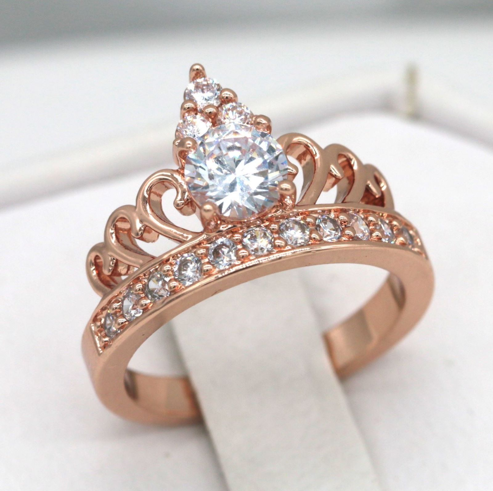 size10 Crown Jewlery 14k Rose Gold Plated Sterling Silver Champagne Cubic Zirconia Cushion Cut Halo Ring Color Black