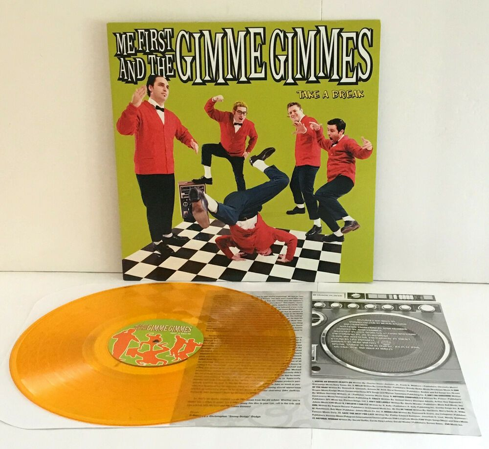 Me First And The Gimme Gimmes Take A Break Lp Orange Vinyl Record With Insert Punkpunknewwave Vinyl Records Vinyl Record Store