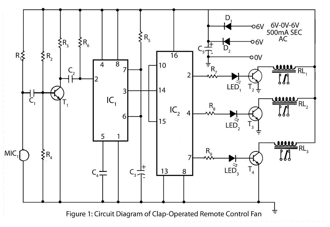 circuit diagram of clap operated remote fan switch [ 1100 x 758 Pixel ]