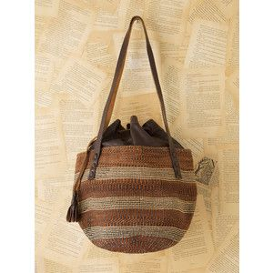 African Woven Bags Vintage Straw Bag With Leather Interior Free People Polyvore