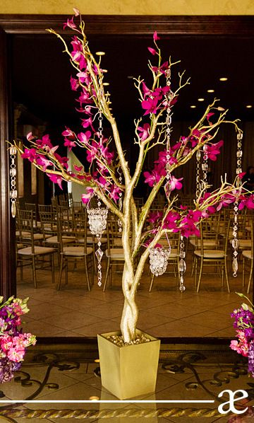 Purple Orchid Tree Maxit Flower Design Manzanita Wedding Centerpiece