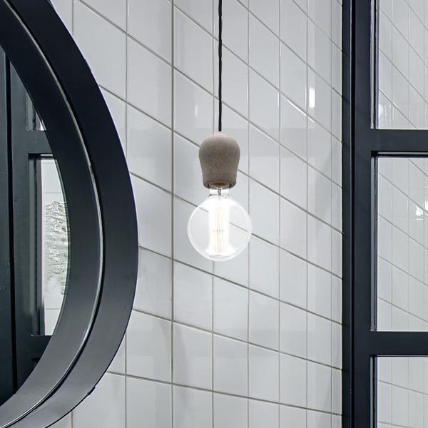 Concrete or Stone Light Bulb Pendant with Carbon Filament Light Bulb