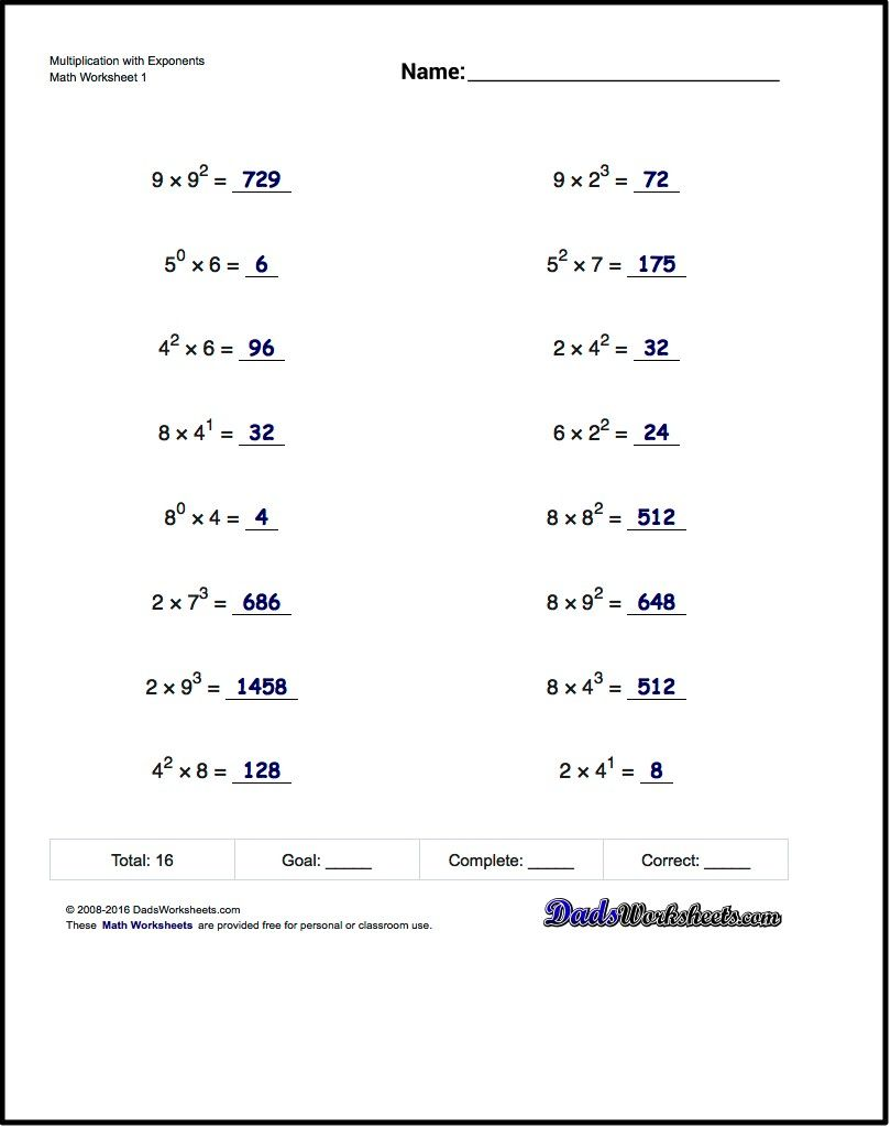 worksheet Order Of Operations Worksheets With Exponents practice exponents worksheets introducing exponent syntax calculation of simple powers ten and order operationsmath