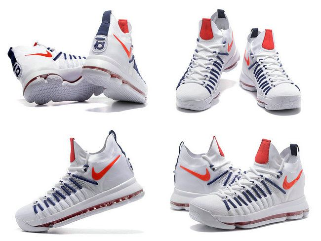 the latest b3302 b7a3b June Latest New Arrival 2017 KD Kevin Durant 9 IX Elite USA White Sport Red  Navy