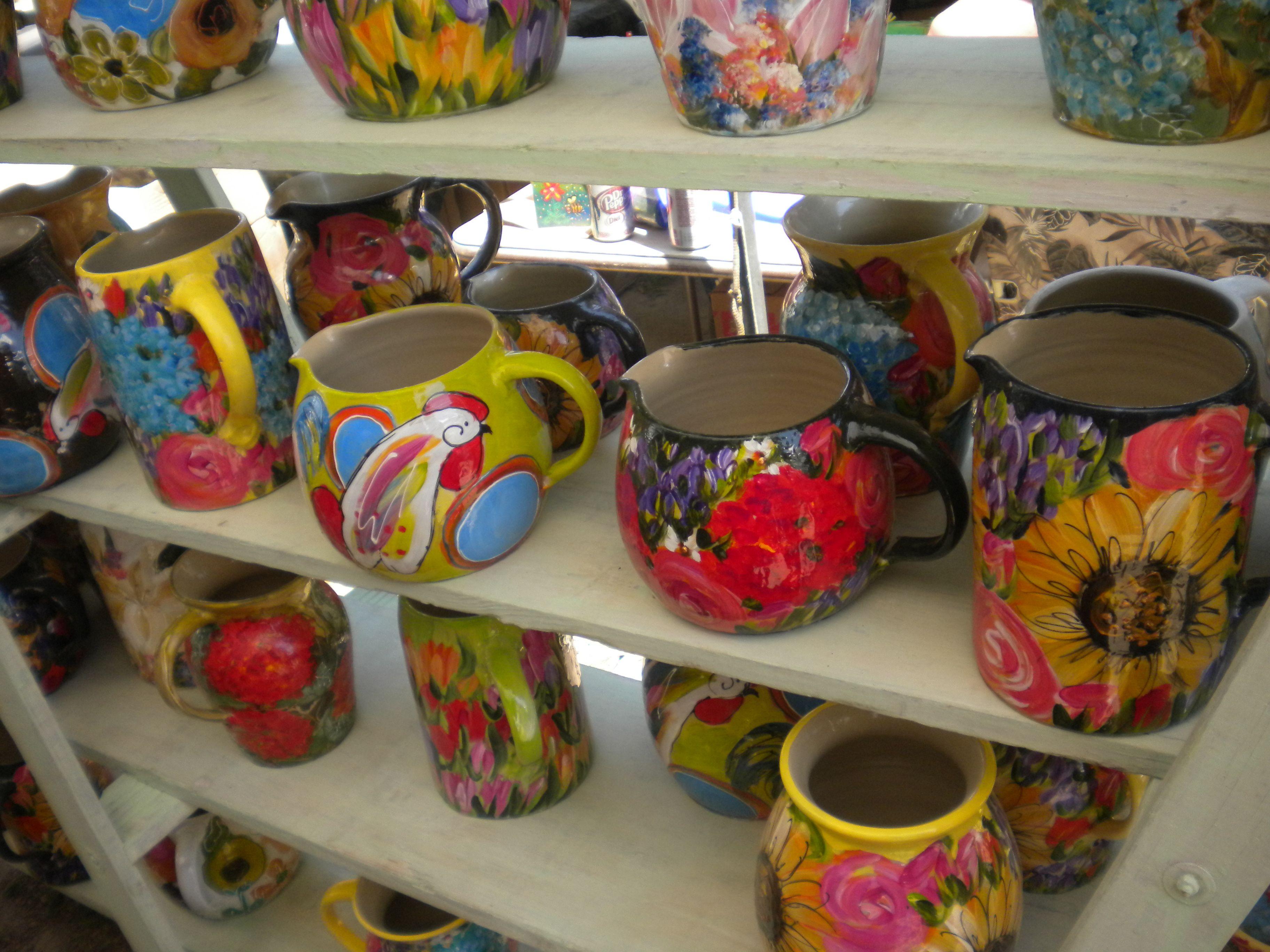 Canton flea market may 2011 beautifully painted pots