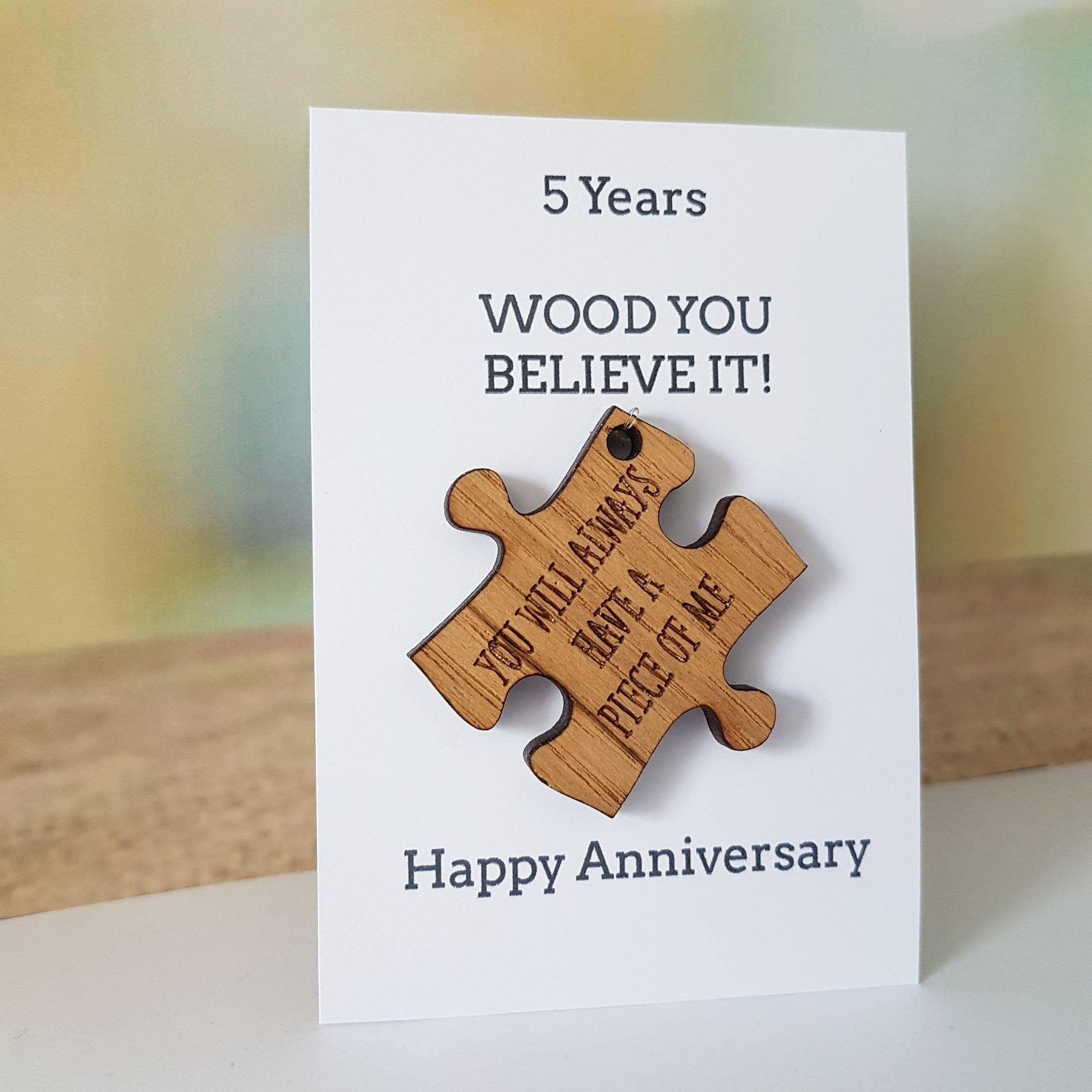 5th Anniversary Card, HusbandGift, Wife Card, Wood, Wooden