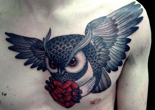 owl & crystal red heart tattoo design